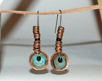 Copper ring earrings Dangle ring earrings Dangle copper earrings Turquoise long earring Copper patina earring Blue ring earring gift for her