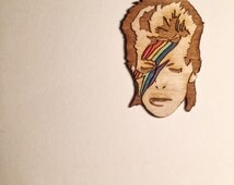 David Bowie RAINBOWIE Pin, Retro Rainbow Aladdin Sane Hand Painted Wood Pin or Magnet
