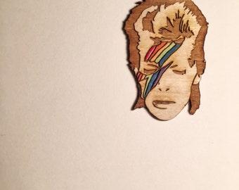 David Bowie RAINBOWIE Pin, Retro Rainbow Aladdin Sane Hand Painted Wood Pin or Magnet