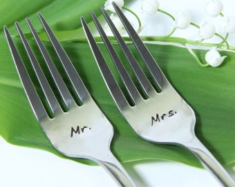 Mr. Mrs. Wedding Forks, Personalized Wedding Forks with Dates