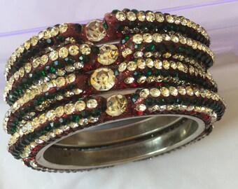 Jaipury Stone studded Lacquer bangles