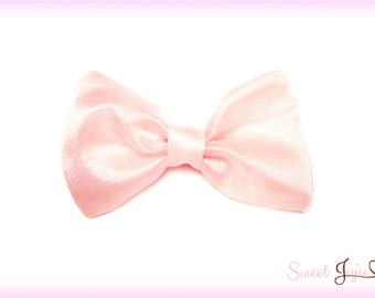 Little Ballerina Bow - Sheer Pink Sparkle Shimmer Fabric - Kawaii Sweet Lolita and Fairy Kei Hair Clip Accessory