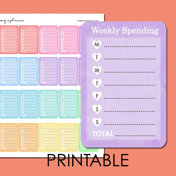 PRINTABLE Weekly Spending Tracker Stickers 02 Daily Spending