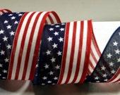 2-1/2 inch American Flag Wired Ribbon ~ Patriotic Ribbon ~ 4th of July Ribbon ~ Canvas Type Ribbon ~ Craft Ribbon ~ 3 Yards