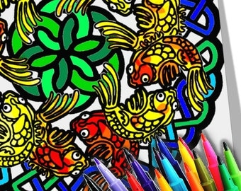 Koi Fish Mandala Coloring Page Printable Download