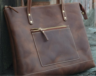 Leather Tote Bag Zipper + Zipper Bag + Large Cognac Tote Handles + Zippered Tote Bag + Leather Tote with Zipper + Leather Bag + Laptop Bag