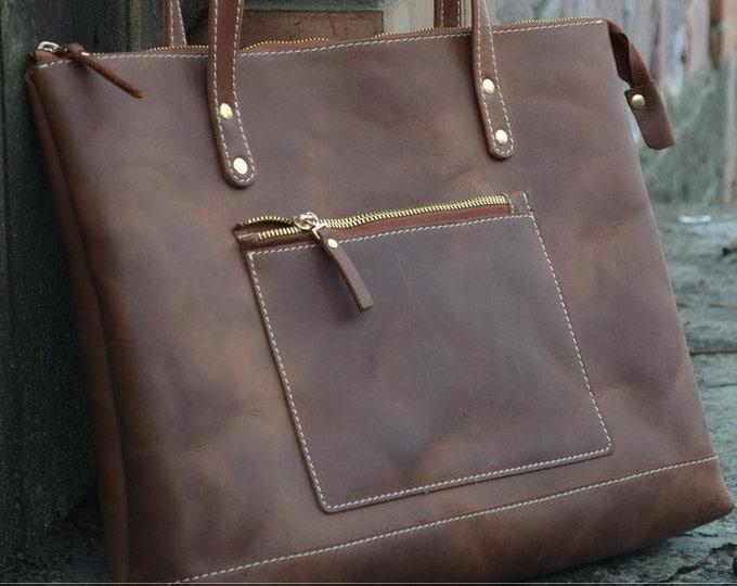 Leather Tote Bag Zipper + Zipper Bag + Large Cognac Tote Handles + Zippered Tote Bag + Leather Tote with Zipper + Leather Bag + Laptop Bag