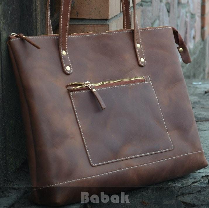 Leather Tote Bag Zipper Zipper Bag Large Cognac Tote