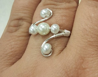 Sterling Silver Five Bead Ring
