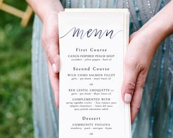 watercolor calligraphy menu | wedding menu | event menu | custom calligraphy | olive branch | laurel | modern calligraphy | watercolor menu