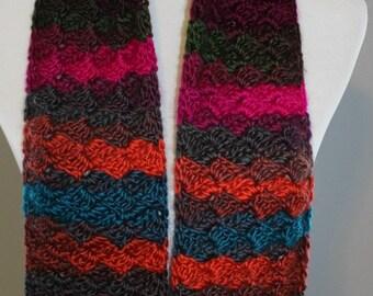 Multicolor Crochet Scarf, Crochet Scarf, Shells Scarf, Stripe Scarf, Slanted Shells Scarf
