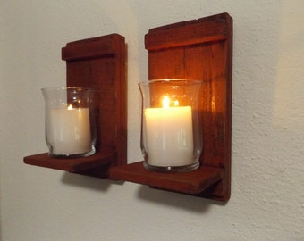 Rustic Candle Sconce. Wood Candle Sconce. Candle Wall Sconce. Rustic Wall Sconce. Candle Holder. Shabby Chic Sconce. Wood Wall Sconce Candle