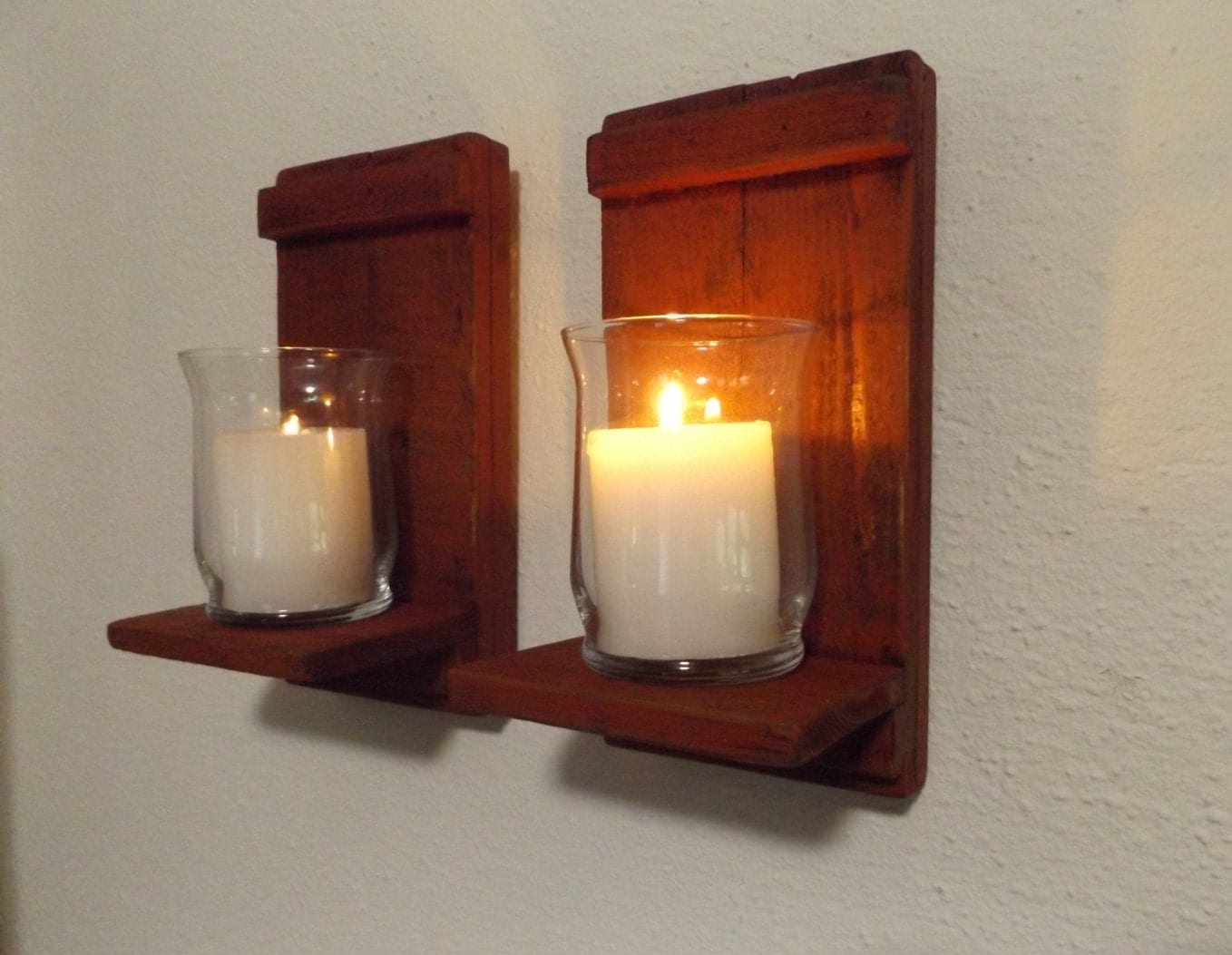 Rustic Candle Sconce. Wood Candle Sconce. Candle Wall Sconce.