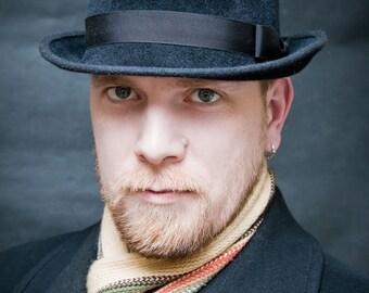 "Felt Hat ""Fedora"", men's fedora hat in dark, Classic Fedora Hat"