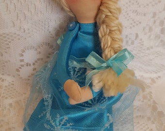 Tilda doll, Handmade Ice Princess cloth doll, blonde braided hair, 9 inch doll, Keepsake doll, Christmas gift for girls, stocking stuffer
