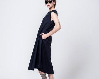"Navy Blue Dress - Women Cotton Dress - Boho Dress - Short Sleeves Midi Dress - Classic Women Clothing - Oversized Pockets Dress - ""Liron"""