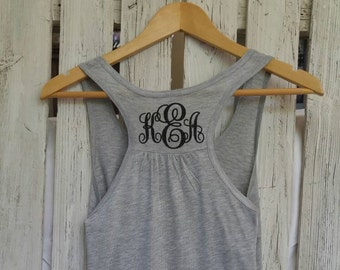 Tank Top Monogram Personalized Racer Back Loose Fit Soft Sleeveless