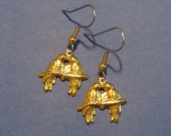 Love Bird Earrings 24 Karat Gold Plate 2 Birds on a Branch Romance Valentines Day Gift EG389