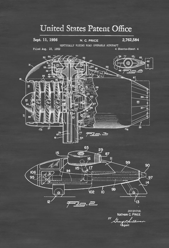 Vertical takeoff flying car patent airplane blueprint like this item malvernweather Images