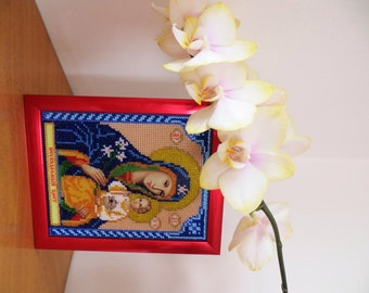 "Beads Embroidered Icon Maria and Jesus ""Perennial Color"""