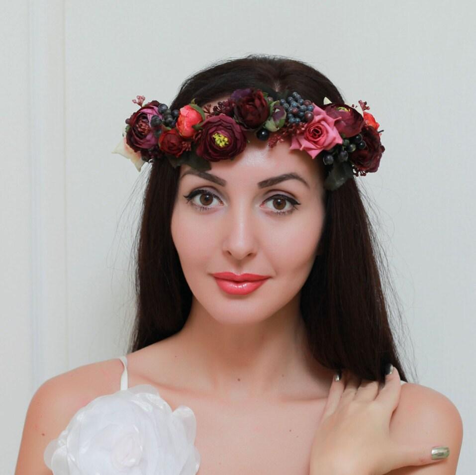 Flower Crown Purple: Burgundy Purple Flower Crown Boho Floral Crown Wedding Halo