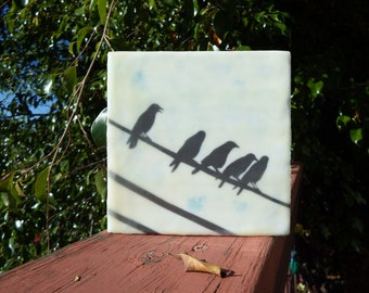 girls friends encaustic blackbirds crows birds 6x6 silhouette original 6x6
