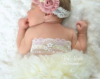 Shabby chic vintage lace newborn headband, infant headband, baby headband, newborn photo prop, headband, toddler headband, vintage headband