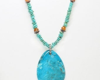 Turquoise Nugget Necklace with Carnelian and Turquoise Tear Pendant