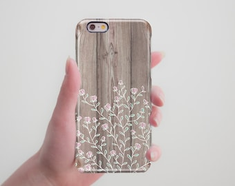 iPhone 7 Case Wood iPhone 6S Case iPhone 5S Case Floral iPhone 7 Plus Case iPhone 5C Case iPhone 5 Case to Galaxy S8 Case Cute Cool Cover