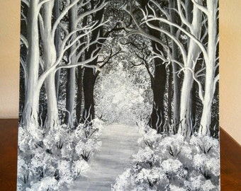 Pathway Through the Forest, Black and White Acrylic Painting on Canvas