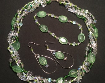 Green and Clear Beaded Necklace with Matching Bracelet and Earrings