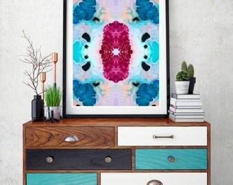 Abstract painting print, Geometric art print, abstract art, resin art wall print, modern wall art, magenta, pink, blue, pastel wall art.