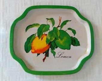 Vintage Kitschy Antique Tin Kitchen Tray, Lemon Tree, Gold trim and back, lemon yellow, bit of fun to your kitchen, tin tray,trinket tray