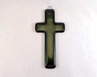 Green Fused Glass Cross, Crucifix, Crucifix Suncatcher, Cross Suncatcher, Crucifix Wall Decor, Cross Wall Decor, Cross Wall Hanging, Cross