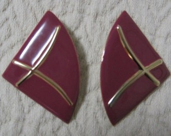 Enamel Earrings, Pierced, Raspberry Color, Gold Linear Design, vintage