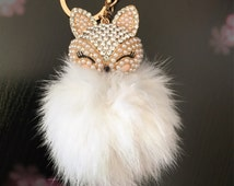 Cute Fox Faux Fur Pom Pom Keyring / White / Gold / Jewelled / Bag Charm / Cute Companion / Bag Accessory / Gift