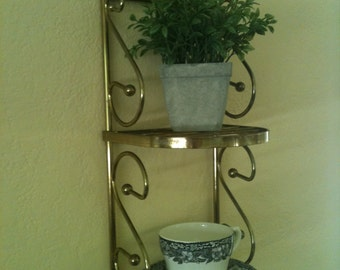Sale!  Vintage brass two tier shelf