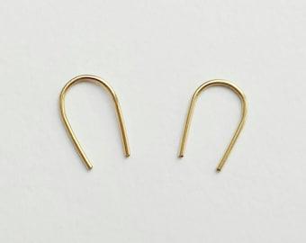Gold staple pin arc earrings - modern minimal 14k gold filled (rolled) earrings - open hoop