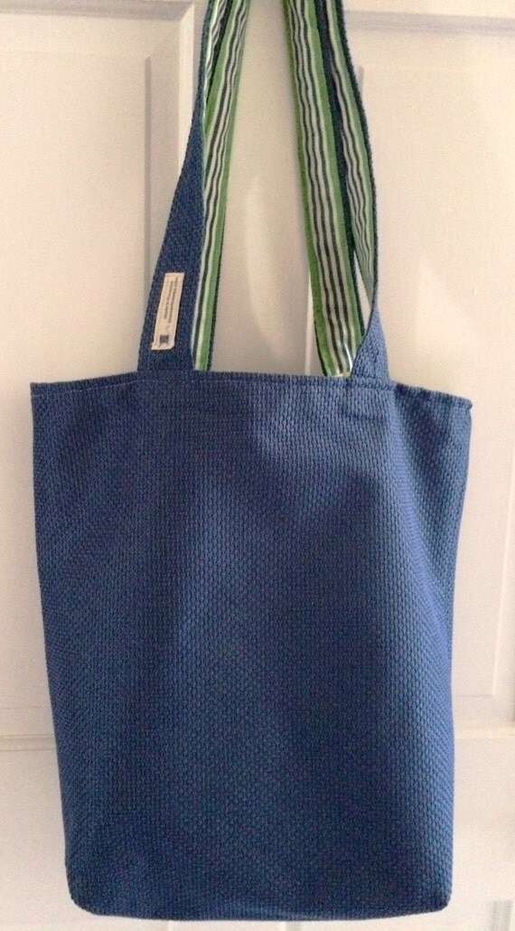 Heavy Duty Reversible Tote Bag with Long Straps in Ocean Blue with Stripes