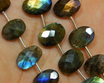 """8""""Inches Labradorite Blue Flash Faceted Beads Oval Shape 11x16 To 12x17 mm Approx"""