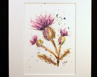 Purple Thistle Watercolor Painting Print, Thistle Watercolor Painting, Purple Thistle Wall Hanging-- 5 X 7 matted to 8 x 10, Botanical