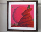 Red Moon Outpost, acrylic on canvas painting, sci-fi, fantasy, moody, atmosheric, story, warm, striking, wall art