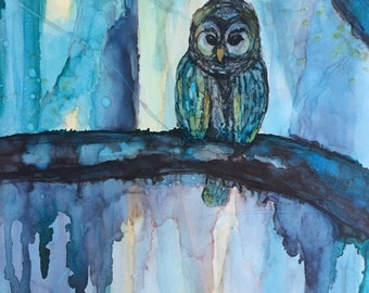 Owl at Night, Alcohol Ink on 11 x 14 Yupo Paper