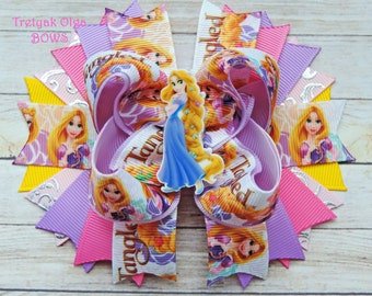 Rapunzel Hair Bow Tangled Hair Bow Tangled Birthday Party Princess Hair Bow Rapunzel Princess Bow Gift for Girl Rapunzel Baby Hair Clip