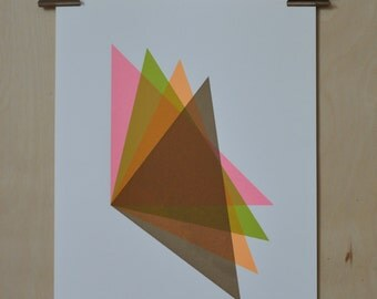 Multicoloured triangle screenprint, Geometric artwork, '4 Triangles'