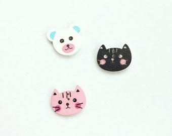 Teddy Bear Button - Cat Buttons - Mixed Buttons - Kitten Buttons - Scrapbook Buttons, Notions, Embellishment, Craft Supplies Wood Buttons