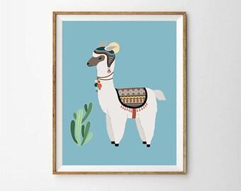 Alpaca & Cactus print, 5 x 7 in, 8 x 10 in, Llama wall art, Nursery ideas, Kids illustration, Blue Nursery print, Baby prints, Digital print