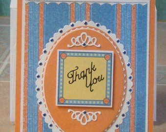 Thank You Greeting Card {Orange, Blue and White}