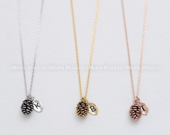 Dainty Pinecone Necklace, Initial Leaf Necklace, Mini Pinecone, Pine Cone Necklace,Nature Jewelry, Nature Necklace, Gold,Rose,Minimalist 048