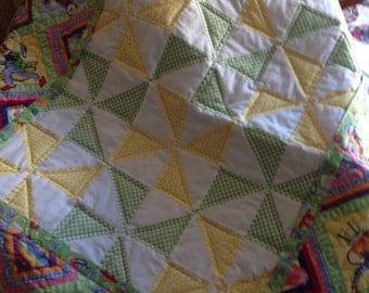 Handmade Yellow Green Circus Pinwheels Baby Quilt